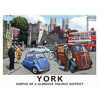 York, Glorious Holiday District, Small Metal Sign 200mm x 150mm (og)