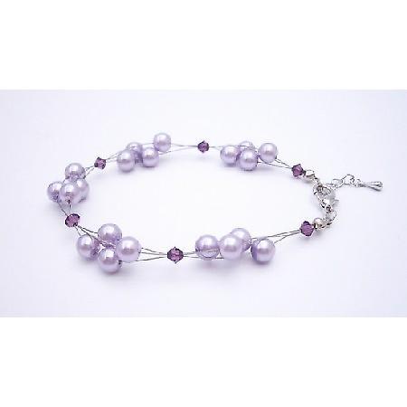 Adorable Bracelet Lilac Pearls Swarovski Amethyst Crystals Bracelet