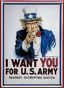 I Want You (Uncle Sam) metal postcard / mini-sign    (na)