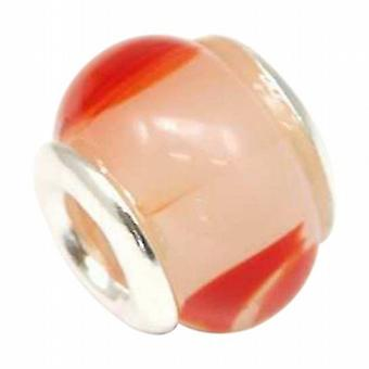 TOC BEADZ 925 Silver Peach & Red 11mm Glass Bead