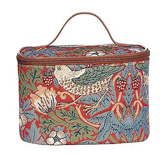 William morris - strawberry thief red makeup bag by signare tapestry / toil-strd
