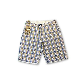 Tailor Vintage reversible shorts in blue and brown check