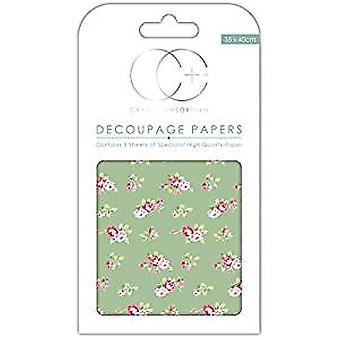 Craft Consortium kastade rosor grön decoupage papper (CCDECP274)