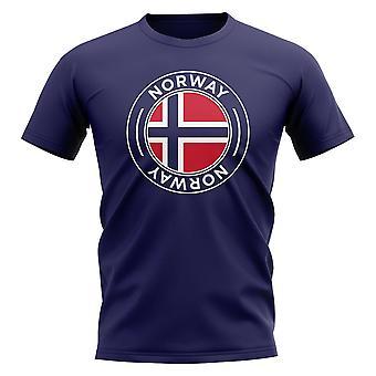 Norge fotboll Badge T-shirt (marinblå)