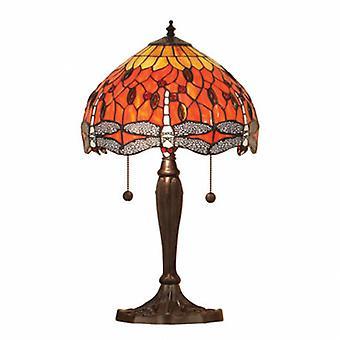 2 lichte kleine tafel lamp donkerbrons, rood, Tiffany stijl glas