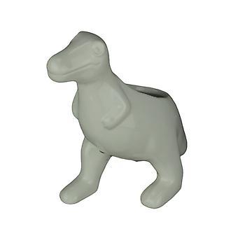 White Ceramic Tyrannosaurus Rex Dinosaur Jurassic Decor Planter