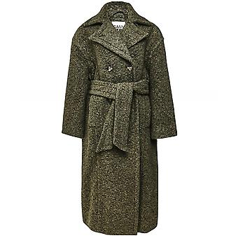Ganni Boucle Wool Belted Coat