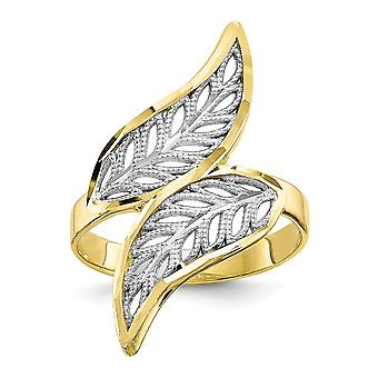 10k Yellow Gold Polished and Rhodium Sparkle-Cut Filigree Ring - 1.8 Grams