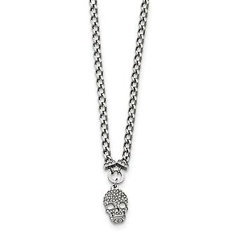Stainless Steel Polished Crystal Skull Necklace - 18 Inch