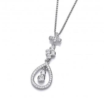 Cavendish French Cubic Zirconia Victorian Drop Pendant with a Silver Chain