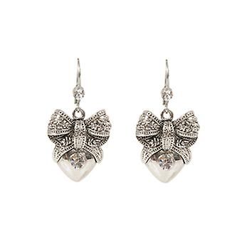 Butler  and  Wilson Vintage Heart  and  Bow Drop Earrings  Silver