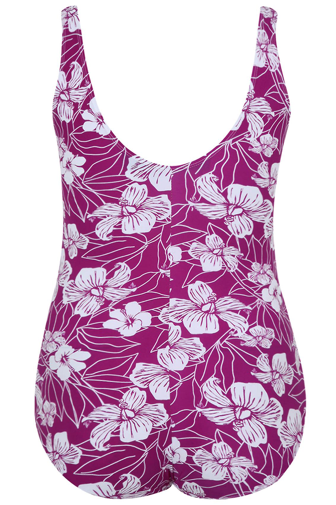 TUMMY CONTROL Purple Floral Print Twist Swimsuit