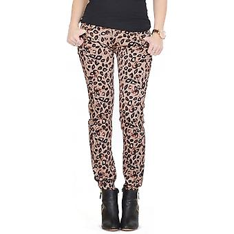 Animal Print Skinny Stretch Slim Jeans - brun