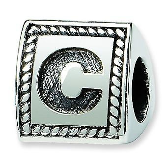 Sterling Silver Reflections Letter C Triangle Block Bead Charm
