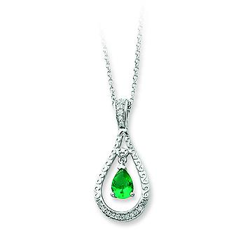 Sterling Silver May CZ Necklace - 18 Inch