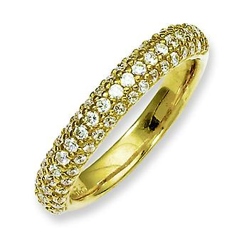 Sterling Silver Yellow Plated With CZ Ring - Ring Size: 6 to 8