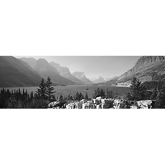 Lake with mountain range in the background St Mary Lake Glacier National Park Montana USA Poster Print
