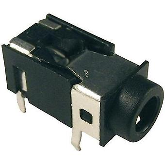 3.5 mm audio jack Socket, horizontal mount Number of pins: 4 Stereo Black Cliff FC68127 1 pc(s)