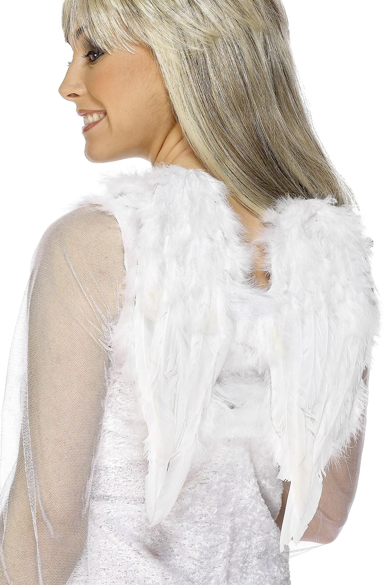 Smiffys White Angel Wings Feathered Fancy Dress Costume Accessory Halloween