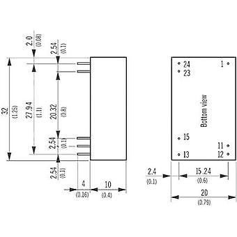 DC/DC converter (print) TracoPower THB 3-1215 12 Vdc 24 Vdc 125 mA 3 W No. of outputs: 1 x