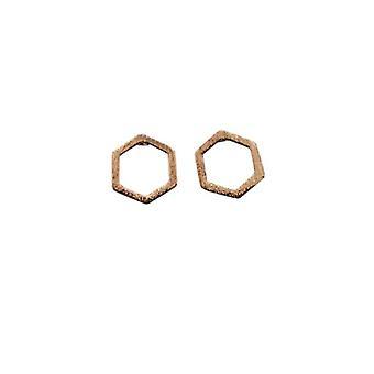 Pendientes de declaración minimalista abren hexagonal rosado oro