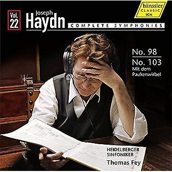 Haydn / Fey / importación de Heidelberger Sinfoniker - Syms Comp 22-Syms 98 y 103 [CD] Estados Unidos