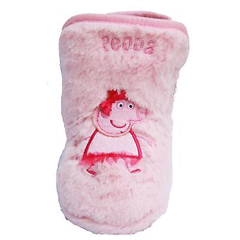 New Girls Novelty Peppa Pig Fluffy Fleece Cartoon Character Slipper Boot