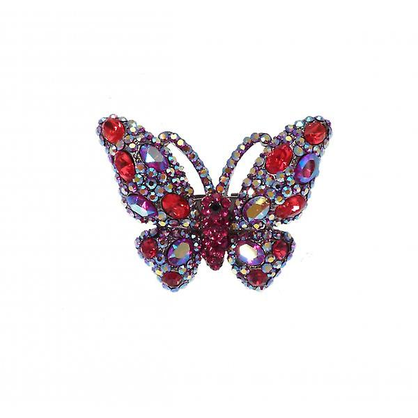 W.A.T Silver Style Red And Blue Swarovski Crystal Butterfly Ring