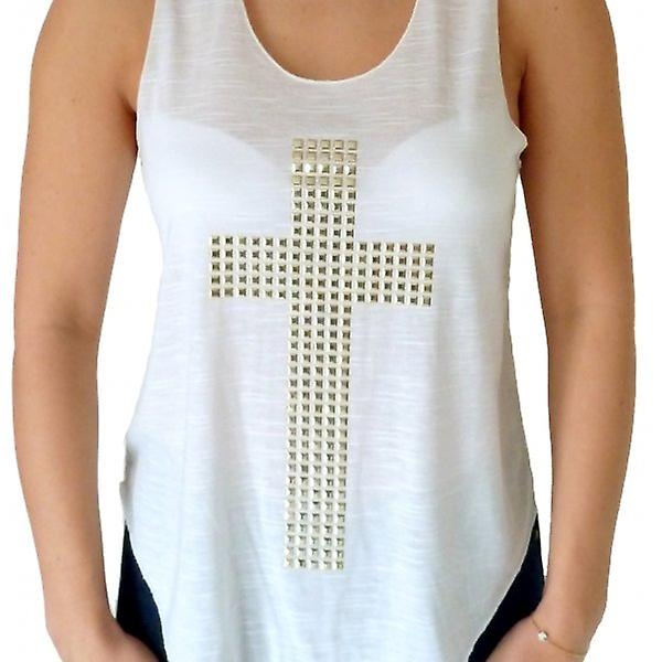 W.A.T White Gold Studded Cross Vest