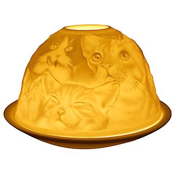 Light-Glow Cats Lithophane Dome Tealight Candle Holder