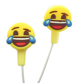 Emoji Cry Laughing Face Earphones With Silicone Buds For Phones & Tablets
