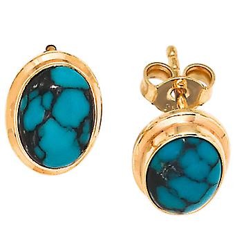 Studs boutons 585 Gold Yellow Gold 2 turquoise earrings gold gemstone earrings