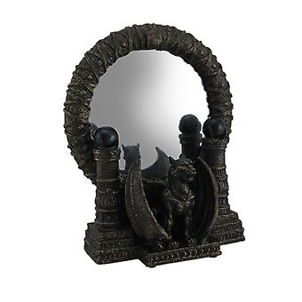 Bronze Finished Gothic Gargoyle Table Mirror 9 Inches Tall