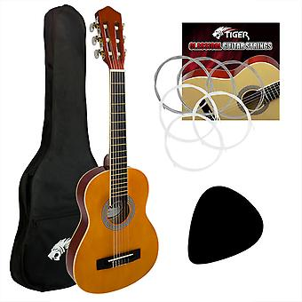 Tiger 4/4 Size Classical Guitar Beginners Complete Starter Kit