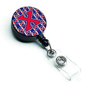 Letter X Football Harvard Crimson and Yale Blue Retractable Badge Reel