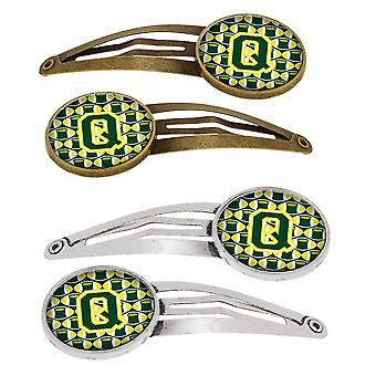 Letter Q Football Green and Yellow Set of 4 Barrettes Hair Clips