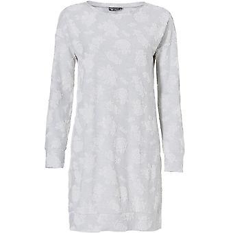 Pastunette 1072-320-2-953 Women's Luxe Light Grey Floral Night Gown Loungewear Nightdress