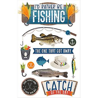 Paper House Dimensional Multi-Level Sticker-I'd Rather Be Fishing STDM0289