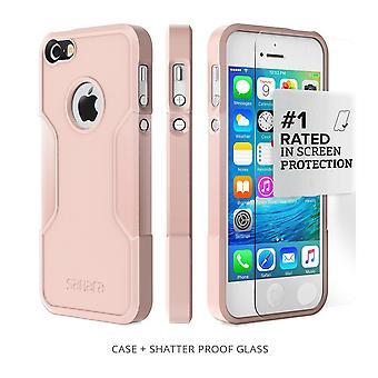 SaharaCase® iPhone SE/5s/5 Rose Gold Case, Classic Protective Kit Bundle with ZeroDamage® Tempered Glass
