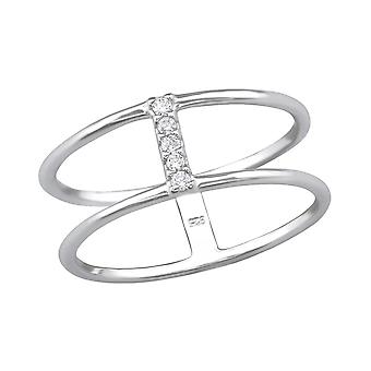 Dobbelt Line - 925 Sterling sølv Jewelled ringe - W30536X
