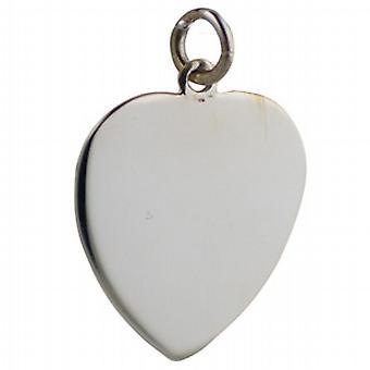 Sølv 24x21mm ren hjertet plate