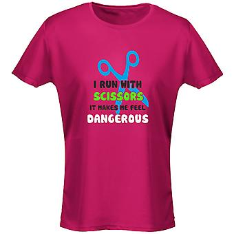 I Run With Scissors It Makes Me Feel Dangerous Funny Womens T-Shirt 8 Colours by swagwear