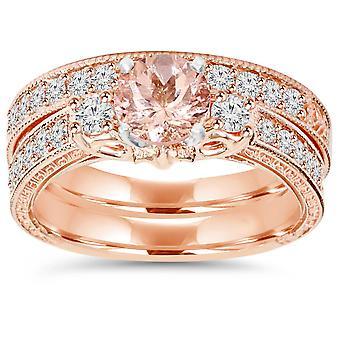 1 1/2CT Vintage Diamond & Morganite Engagement Wedding Ring Set 14K Rose Gold