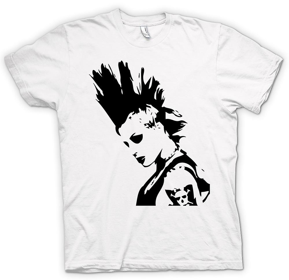 Mens T-shirt-Punk-Rocker Mohican Mädchen - BW - Pop-Art