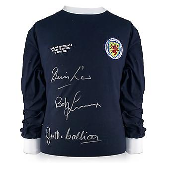 Scotland Shirt Signed by Denis Law, Bobby Lennox And Jim McCalliog