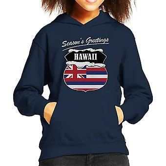 Seasons Greetings Hawaii State Flag Christmas Kid's Hooded Sweatshirt