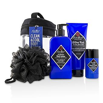 Jack Black Clean & Cool Body Basics Set: All Over Wash 295ml + Pit Boss Deodorant 78g + Cool Moisture Body Lotion 473ml + Netted Sponge 4pcs