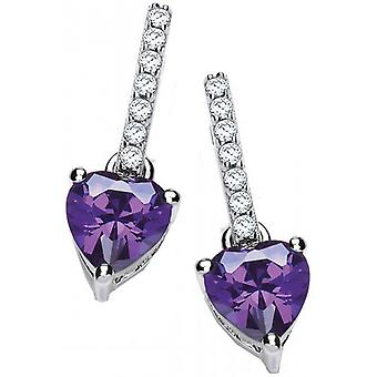 Cavendish French Sparkly Heart Drop Earrings - Silver/Purple