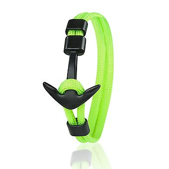 Patrón ancla brazalete 21 cm nylon brazo joyería neón verde con ancla negra 6960