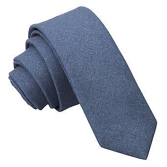 Dark Blue Hopsack Linen Skinny Tie